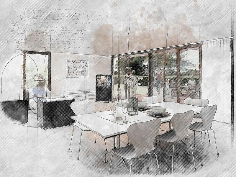 эскиз мебели и интерьера
