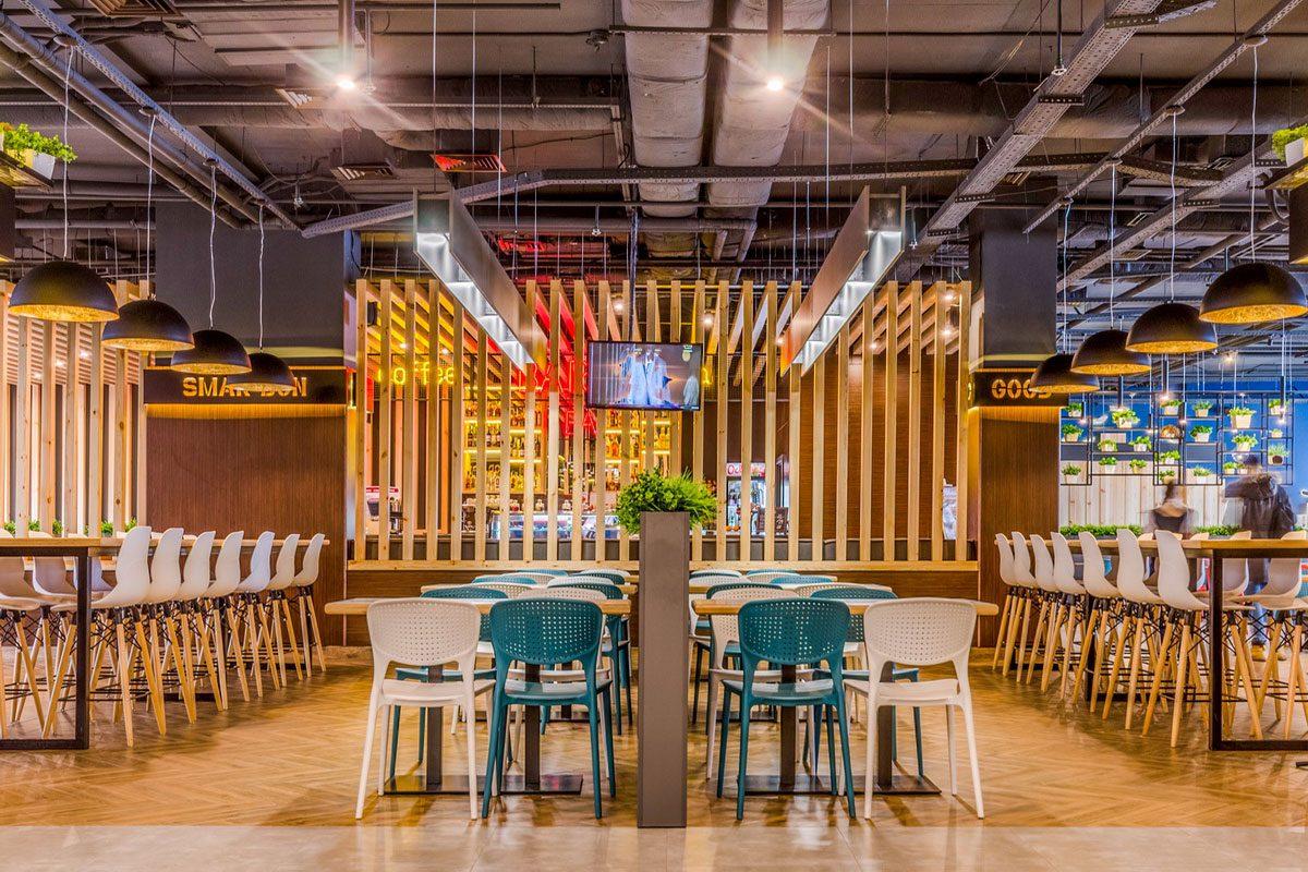 интерьер из дерева для ресторана
